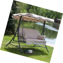 Canopy Patio Porch 3 Person Swing Lounger Chair and Bed -