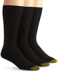 Gold Toe Men's Canterbury Dress Sock, Black, 3-Pack Sock