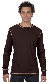 Bella 3500 Mens Thermal Long Sleeve Tee - Brown & Tan, Large