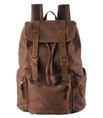 Polare Unisex Canvas Genuine Leather Travel Shcool Backpack