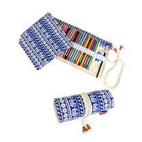Damero Canvas Pencil Wrap Case, Pencils Roll Hold for 72