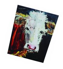 Creative Co-Op Canvas Plaque with Cow