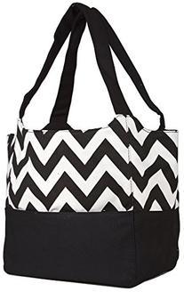 Ever Moda Black Chevron Canvas XL Tote Bag Purse