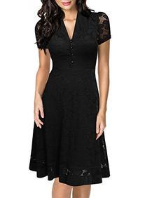 Miusol Women's Cap Sleeve 1950s Style Vintage Black Lace A-