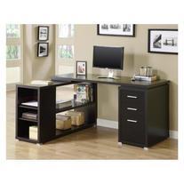 Monarch Cappuccino Hollow-Core L-Shaped Computer Desk