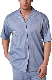 Men's Captains Herringbone Woven Short Sleeve Pajama Top,