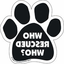 "Car Magnet-Paw-Who Rescued Who- 5.5"" x 5.5"