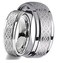 His & Her's 8MM/6MM Tungsten Carbide Wedding Band Ring Set w