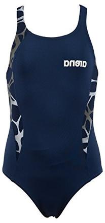 Girl's Carbonite One Piece Swimsuit, Navy/Asphalt/White, 26