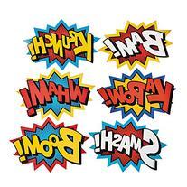Cardboard Jumbo Superhero Word Cutouts  - 6 pcs by Party
