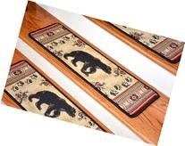 Dean Premium Carpet Stair Tread Rugs - Black and Red Bear