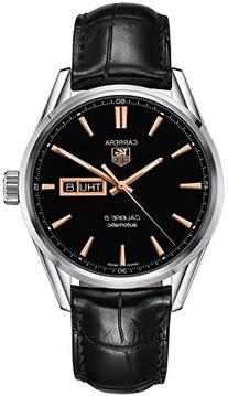 Tag Heuer Carrera Automatic Black Dial Black Leather Mens