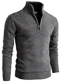 H2H Mens Casual Basic Pullover Sweater of Neck Zipper GRAY