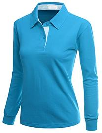 Womens Casual Basic Sporty Long Sleeve Polo Collar Tee BLUE