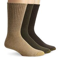 Gold Toe Men's Casual Crew 3-Pack, Khaki/Loden/Brown, Sock