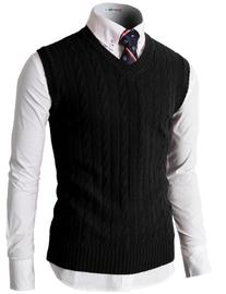 H2H Mens Casual Knitted Slim Fit V-neck Vest With Twisted