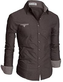 Doublju Mens Casual Patched Dress Shirts CHARCOAL, Asian L