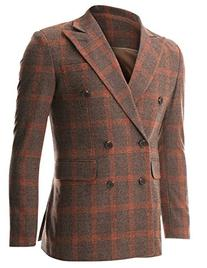 FLATSEVEN Mens Casual Orange Plaid Check Wool Sport Coat