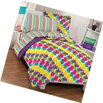 Dream Factory Casual Rainbow Hearts Comforter Set, Twin,