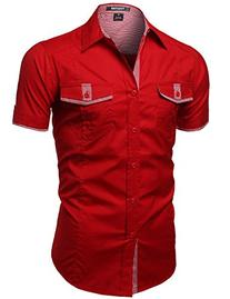 Casual Short Sleeve Buttondown shirts Red Size L