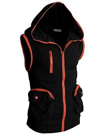 H2H Mens Casual Sleeveless Hoodie Zip-up Vest BLACK US L/