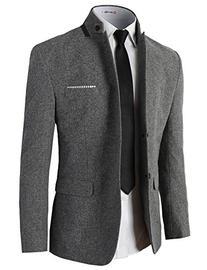 H2H Mens Casual Slim Fit Mandarin Collar Jackets Single