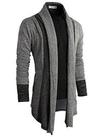 H2H Mens Casual Slim Fit Knit Cardigan with Double Shawl