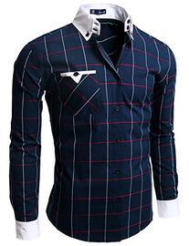 Doublju Mens Casual Slim Fit Plaid Shirts, NAVY, L