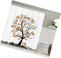 Ambesonne Cat Lover Decor Collection, Cat Family Tree With