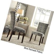 Catherine Print Parsons Dining Side Chair Blue Damask Fabric