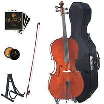 Cecilio CCO-400 Ebony Fitted Solid Wood Cello with Hard &