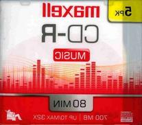 Maxell 5-pack CDR Recordable Media 80minfor Music with