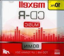 Maxell 10-Pack CDR Recordable Media 80min for Music