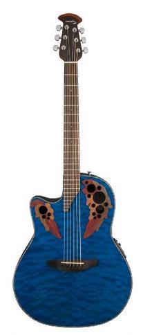 Ovation CE44P-8TQ Acoustic-Electric Guitar, Trans Blue Quilt