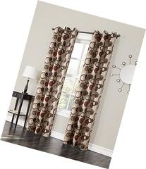 "No. 918 Celestial Grommet Curtain Panel, 48 by 84"", Paprika"