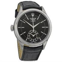 Rolex Cellini Dual Time Black Dial 18kt White Gold Mens