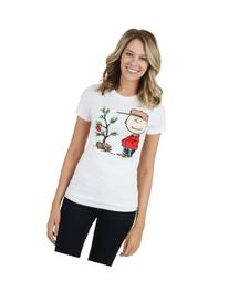 Juniors Charlie Brown Christmas Tree T-Shirt