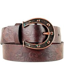 Ariat Women's Charmed Horseshoe Buckle Belt Chocolate X-