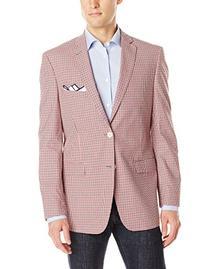 U.S. Polo Assn. Men's Check Two Button Blazer, Red/Black/