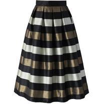 Chicwish Cheers Stripes Pleated Midi Skirt in Black
