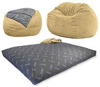 CordaRoy's - Tan Chenille Beanbag Chair - Full Sleeper