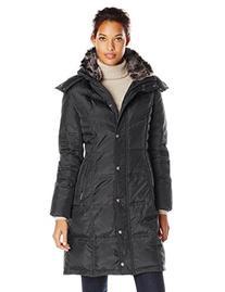 London Fog Women's Chevron Down Coat with Fur Trim Neck,