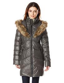 kensie Women's Down Jacket with Faux Fur Hood, Black, L