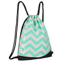 Runetz - Chevron HOT TEAL Gym Sack Bag Drawstring Backpack