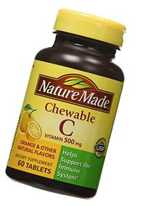 Nature Made Chewable Vitamin C Tablet, 500 milligrams, 60