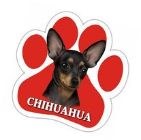 Chihuahua, Black Car Magnet With Unique Paw Shaped Design