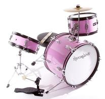 Children's Pink 3 Piece 16 Inch Drum Set with Chair, Sticks