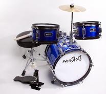 Children's Blue 3 Piece 12 Inch Kids Junior Drum Set with