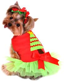16-Inch Christmas Tree Dress Dog Costume, Medium