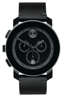 Men's Movado 'Bold' Chronograph Leather Strap Watch, 42mm -